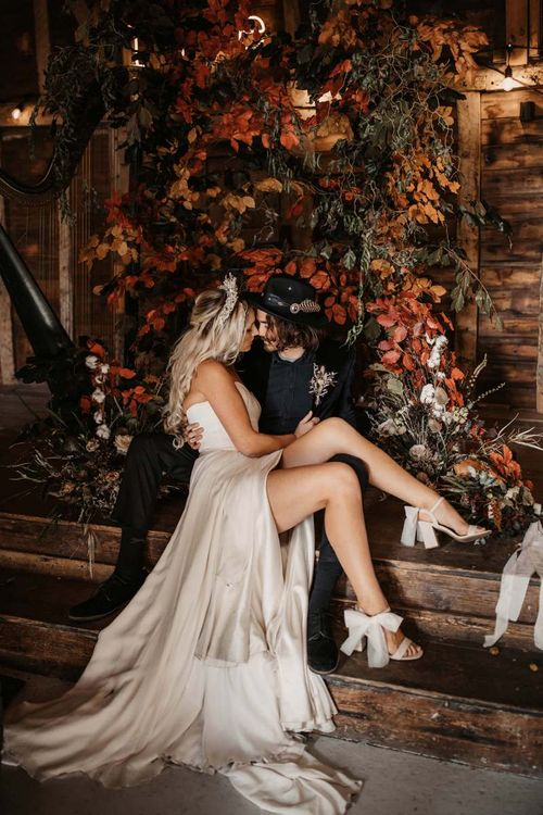 Stylish bride and groom at Autumn wedding at Preston Court