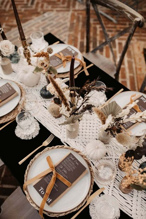 Macrame table runner, white pumpkins and dried flowers for Halloween wedding