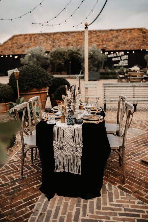 Wedding table decor for Halloween wedding at Preston Court