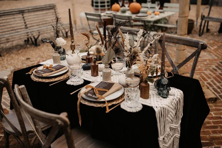 Autumn wedding decor and details at Halloween wedding tablescape