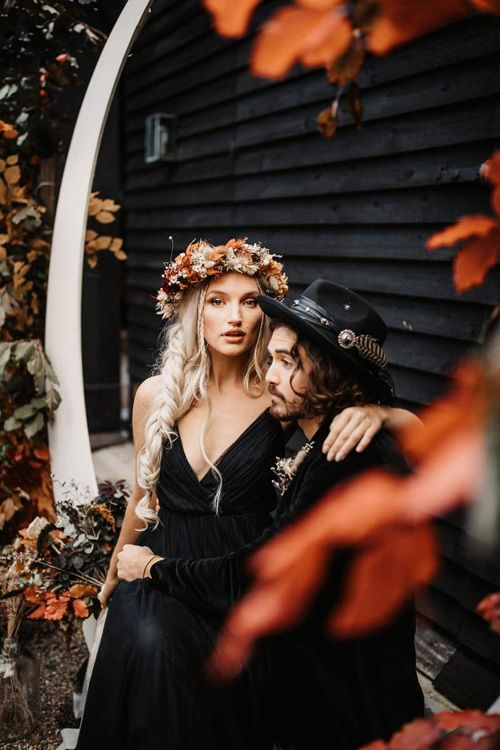 Bride with side braid and autumn flower crown