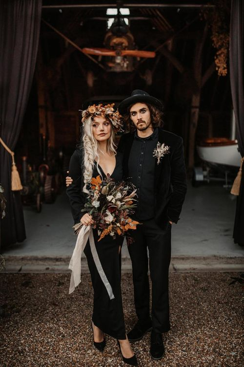 Halloween wedding make up for stylish autumn wedding at Preston Court
