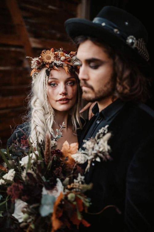 Halloween wedding bridal makeup with autumn flower flower crown
