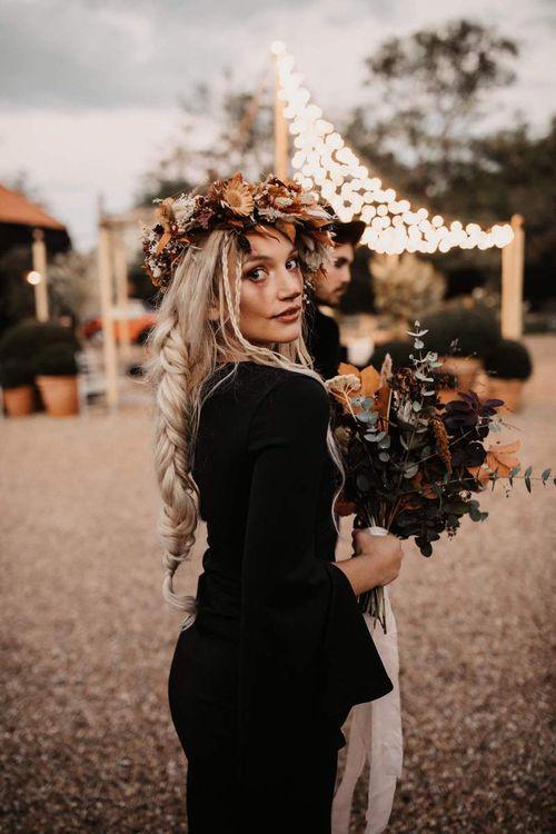 Bridal braid and autumn flower crown for Halloween wedding  inspiration