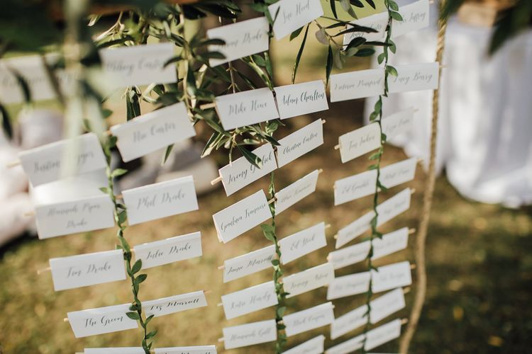 Hanging Table Plan With Wooden Boards & White Card Place Names // Wiskow and White Design