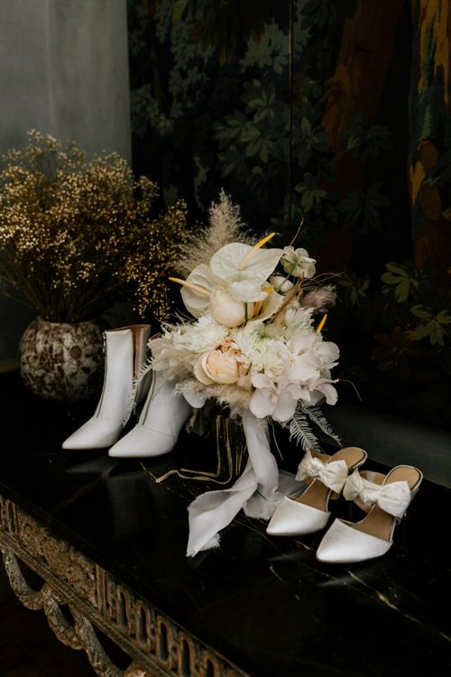 White Bridal Boots and Shoes with White and Cream Wedding Bouquet