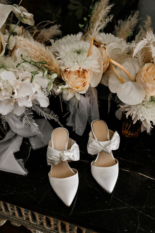 White Slip On Bridal Shoes with Bows