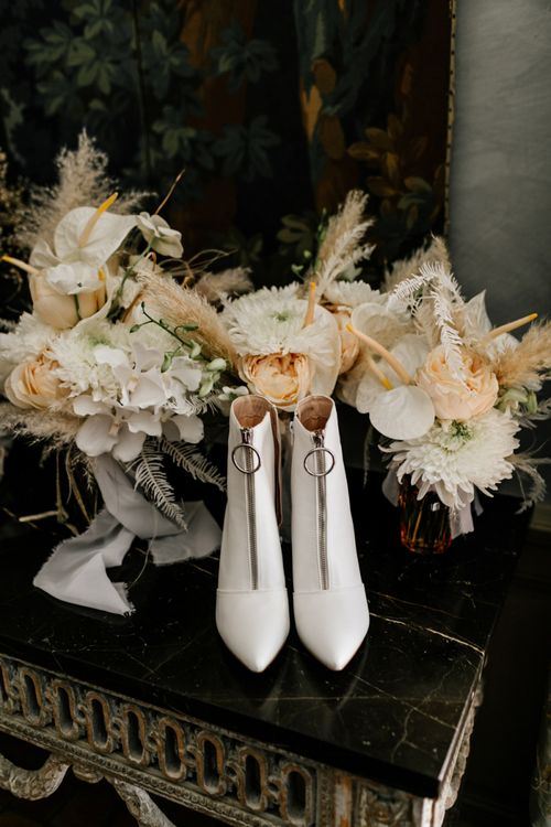 White Bridal Boots with Front Zip Detail