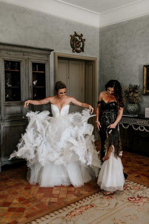 Bride in Stephanie Allin Ostrich Feather Wedding Dress