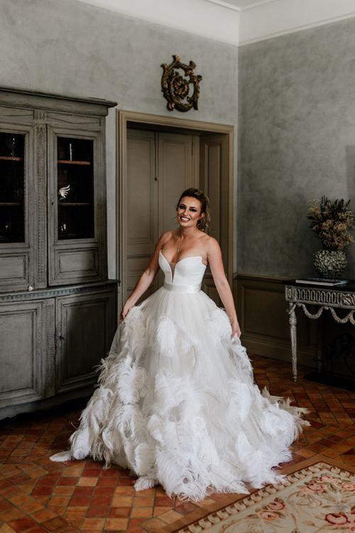 Stylish Bride in Stephanie Allin Ostrich Feather Wedding Dress