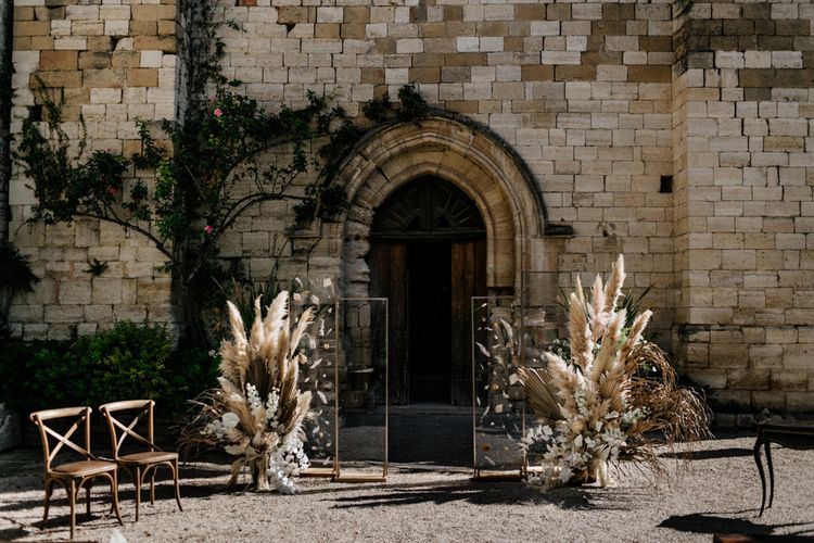 Natural Wedding Altar Decor with Pampas Grass, Dried Palm Leaves and Clear Screens