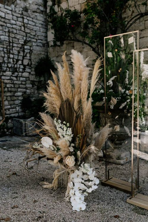 Pampas Grass and Orchid Floral Arrangement for the Altar
