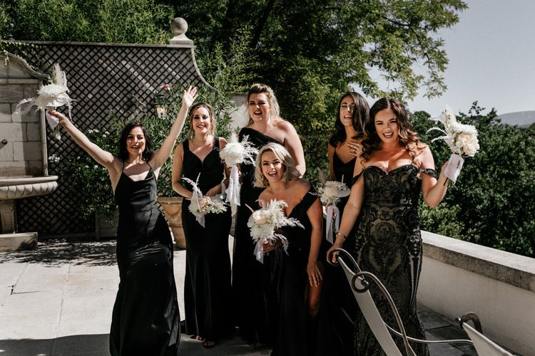 Bridesmaids and Maid of Honour in Black Satin Dresses and Lace Dress