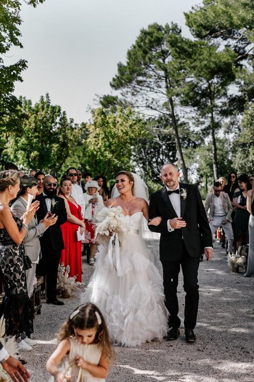 Father of the Bride Walking His Daughter Down the Aisle in a Feather Wedding Dress