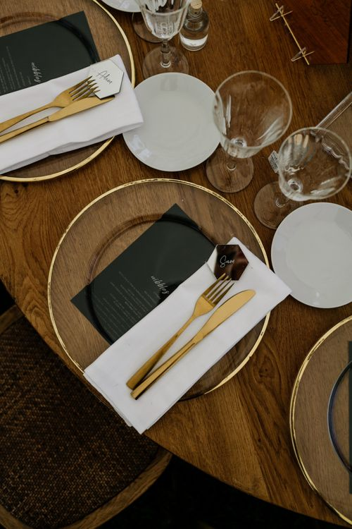 Gold Rimmed Glass Platter and Cutlery Place Setting