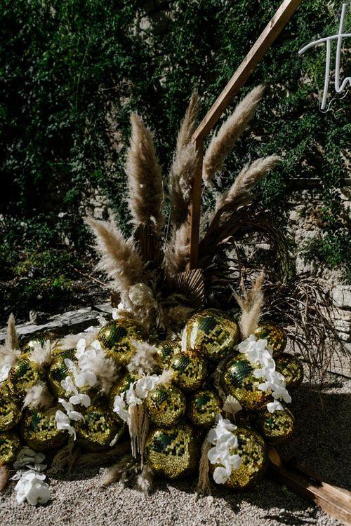 Gold Glitter Balls and Pampas Grass Wedding Decor