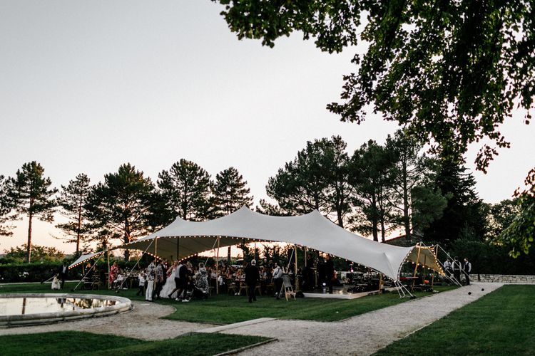 Stretch Tent Outdoor Reception with Festoon Lights