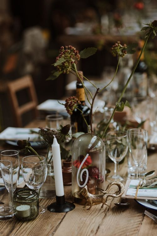 Woodland Wedding Decor with Gold Spray Painted Fox Figure,  and Flower Stems in Bottles