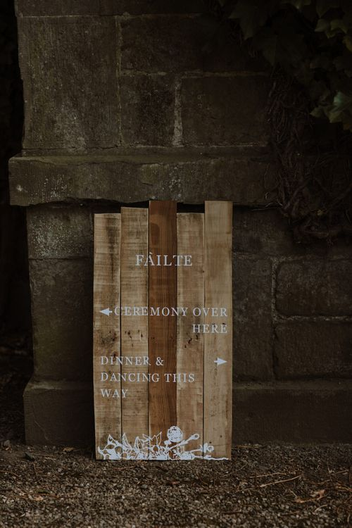 Wooden Wedding Ceremony Direction Sign