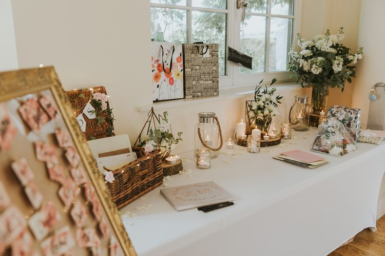 Wedding Guest Book Display // Blush Pink Wedding Dress For Outdoor Wedding Ceremony At Hethfelton House With Images From Dorset Wedding Photographer Paul Underhill