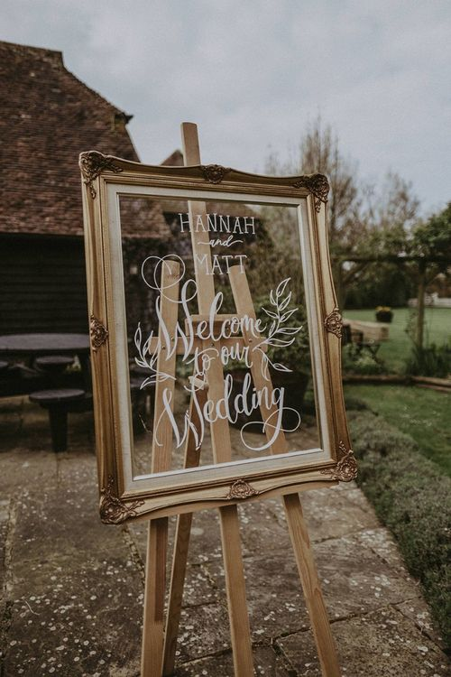 Welcome to Our Wedding Gold Frame Sign