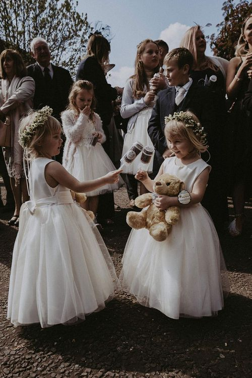 Flower Girls in Tulle Skirt Dresses and Flower Crowns
