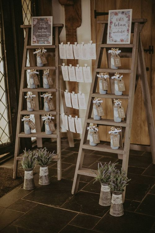 Vintage Step Ladder Wedding Decor and Table Plan