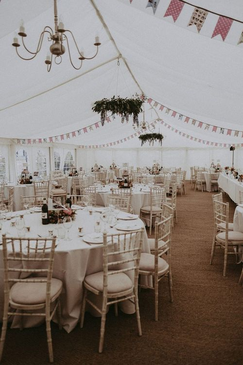 Marquee Wedding Reception with Greenery Chandelier and DIY Bunting