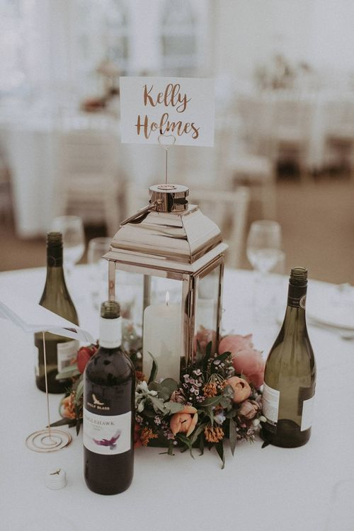 Lantern Wedding Centrepiece Surrounded by Spring Flowers