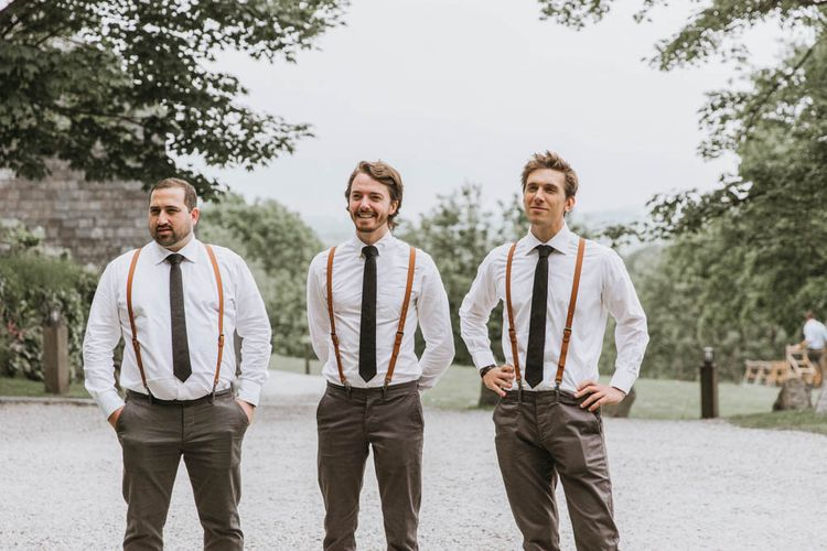 Groomsmen in Relaxed Chino's, Braces and Bow Ties