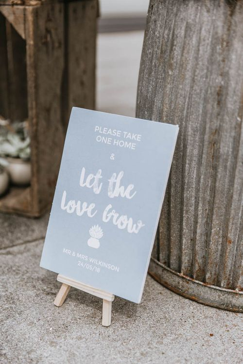 Grey Let The Love Grow Wedding Sign for Succulent Wedding Favours
