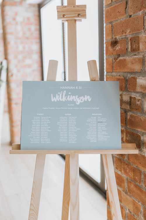 Contemporary Wedding Seating Chart on Easel