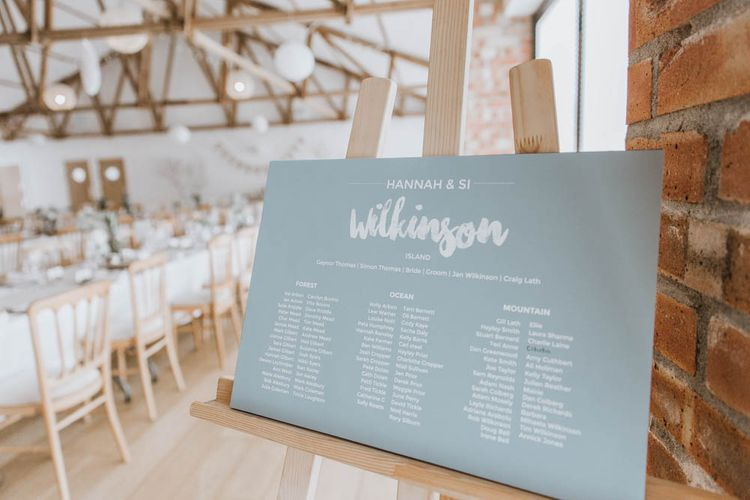 Contemporary Table Plan on Easel in Barn Reception
