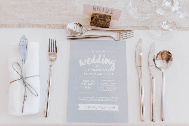 Elegant Place Setting with Contemporary Wedding Stationery