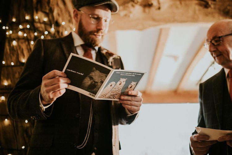Groom reads car before wedding