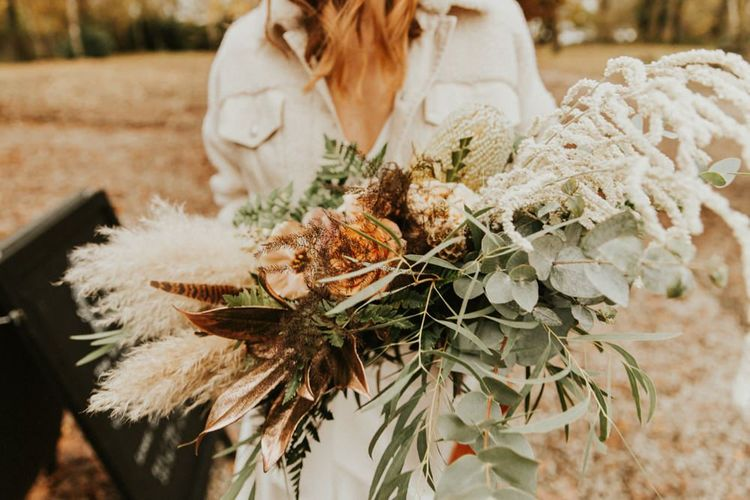 Beautiful large bridal bouquet with pampas grass