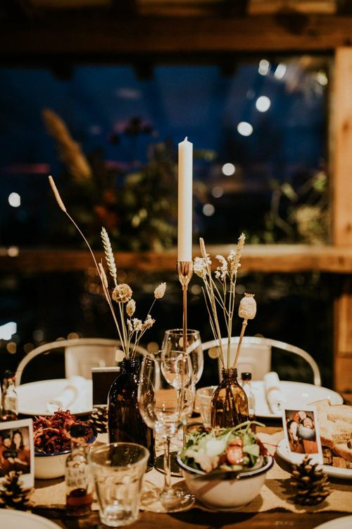 Dried grasses and flower wedding table decor