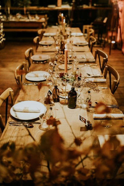 Beautiful wedding table flowers for Autumn style day