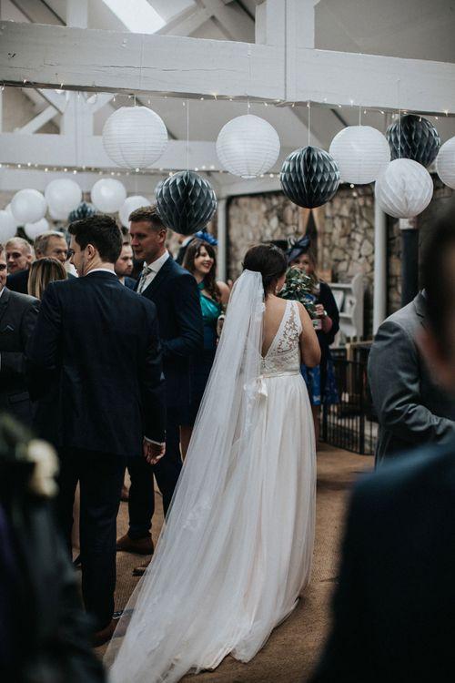 Bride in blush Tamsin Catherine Deane wedding dress