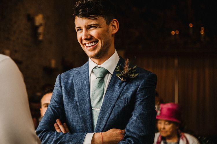 Cad & The Dandy Suit For Groom // Bride In The Row For Bohemian Wedding In The Cotswolds With PapaKata Tipi And Ceremony At Merriscourt With Images From Carla Blain Photography