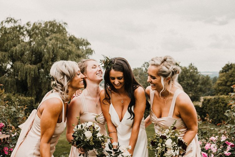 Bride In The Row Bridesmaids In Ghost For Bohemian Wedding In The Cotswolds With PapaKata Tipi And Ceremony At Merriscourt With Images From Carla Blain Photography
