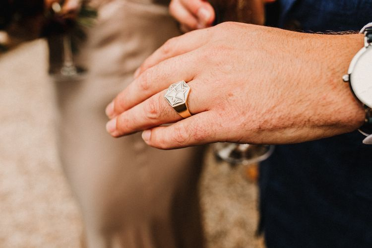 Zoe And Morgan Wedding Ring // Bride In The Row For Bohemian Wedding In The Cotswolds With PapaKata Tipi And Ceremony At Merriscourt With Images From Carla Blain Photography