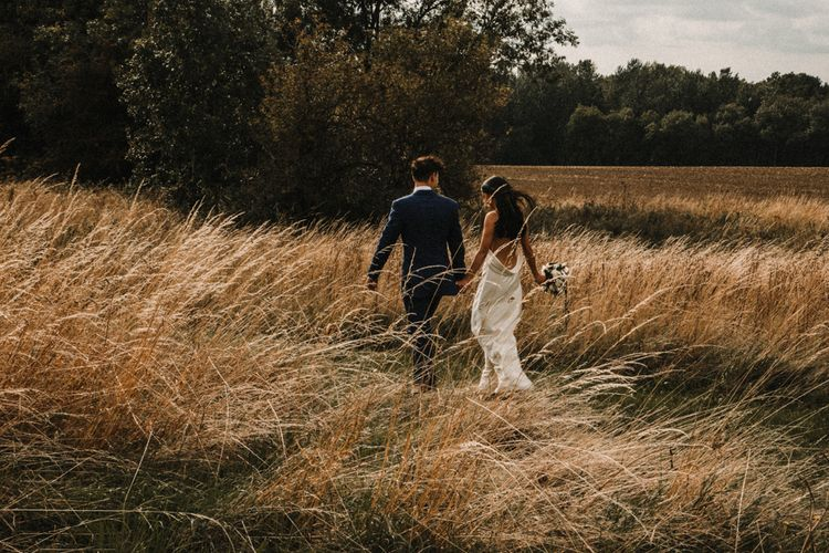 Bride In The Row For Bohemian Wedding In The Cotswolds With PapaKata Tipi And Ceremony At Merriscourt With Images From Carla Blain Photography