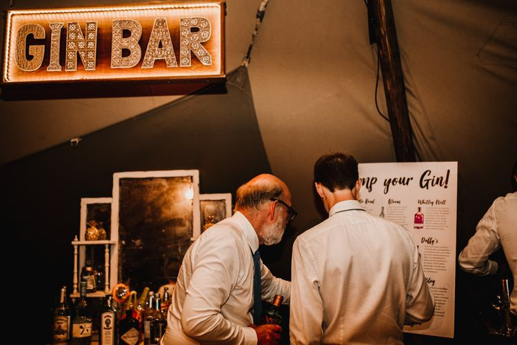 Gin Bar For Wedding // Bride In The Row For Bohemian Wedding In The Cotswolds With PapaKata Tipi And Ceremony At Merriscourt With Images From Carla Blain Photography