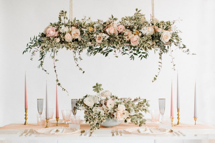 Tablescape with hanging floral installation | Bespoke Planning and Styling by Helaina Storey Wedding Design | Image by Rebecca Goddard