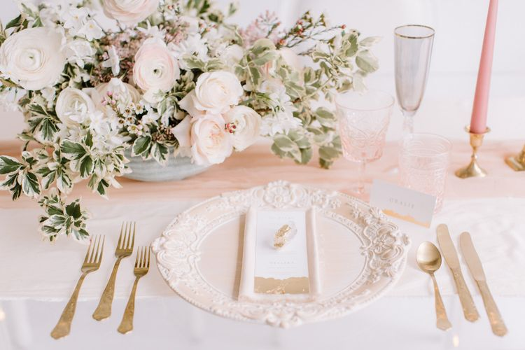 Blush pink table setting | Bespoke Planning and Styling by Helaina Storey Wedding Design | Image by Rebecca Goddard