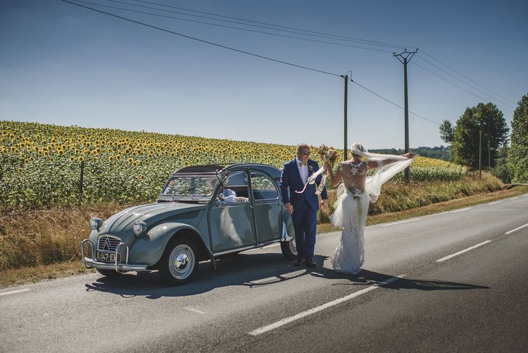 Vintage citreon and sunflower field | Bespoke Planning and Styling by Helaina Storey Wedding Design |  Image by Rik Pennington