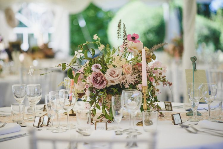 Rose and wildflower table centre | Bespoke Planning and Styling by Helaina Storey Wedding Design | Image by Rik Pennington