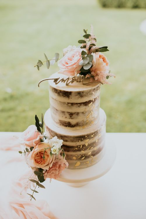Semi naked wedding cake with flowers and gold leaf details | Bespoke Planning and Styling by Helaina Storey Wedding Design | Image by Aubree Lynn Photography