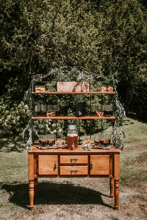 Outdoor cocktail bar | Bespoke Planning and Styling by Helaina Storey Wedding Design | Image by Alice Cunliffe Photography